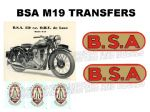 BSA M19 1930's Transfer Decal Set DBSA153